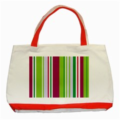 Beautiful Multi Colored Bright Stripes Pattern Wallpaper Background Classic Tote Bag (red)