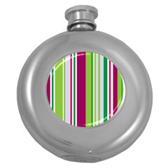 Beautiful Multi Colored Bright Stripes Pattern Wallpaper Background Round Hip Flask (5 Oz)