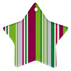 Beautiful Multi Colored Bright Stripes Pattern Wallpaper Background Star Ornament (two Sides)