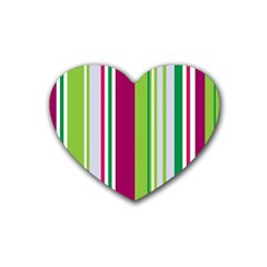 Beautiful Multi Colored Bright Stripes Pattern Wallpaper Background Heart Coaster (4 Pack)