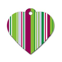 Beautiful Multi Colored Bright Stripes Pattern Wallpaper Background Dog Tag Heart (one Side)