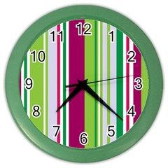 Beautiful Multi Colored Bright Stripes Pattern Wallpaper Background Color Wall Clocks
