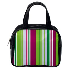 Beautiful Multi Colored Bright Stripes Pattern Wallpaper Background Classic Handbags (one Side)