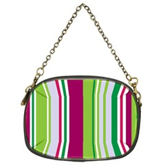 Beautiful Multi Colored Bright Stripes Pattern Wallpaper Background Chain Purses (One Side)
