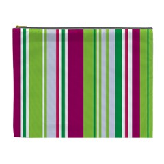 Beautiful Multi Colored Bright Stripes Pattern Wallpaper Background Cosmetic Bag (xl)