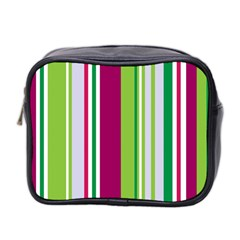 Beautiful Multi Colored Bright Stripes Pattern Wallpaper Background Mini Toiletries Bag 2 Side