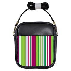 Beautiful Multi Colored Bright Stripes Pattern Wallpaper Background Girls Sling Bags