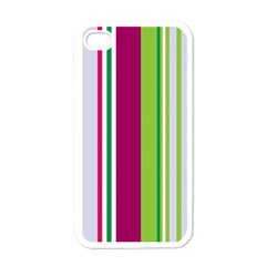 Beautiful Multi Colored Bright Stripes Pattern Wallpaper Background Apple Iphone 4 Case (white)