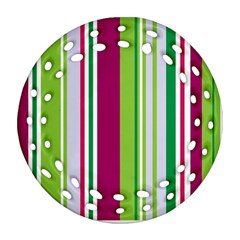 Beautiful Multi Colored Bright Stripes Pattern Wallpaper Background Ornament (round Filigree)