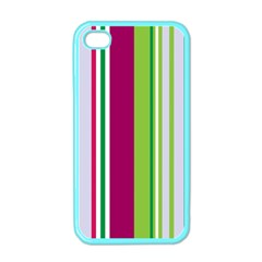 Beautiful Multi Colored Bright Stripes Pattern Wallpaper Background Apple iPhone 4 Case (Color)