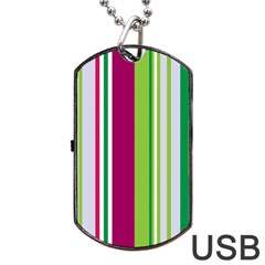 Beautiful Multi Colored Bright Stripes Pattern Wallpaper Background Dog Tag USB Flash (One Side)