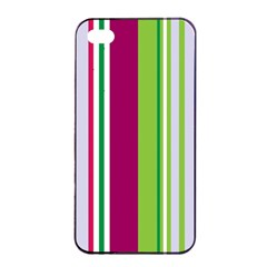 Beautiful Multi Colored Bright Stripes Pattern Wallpaper Background Apple iPhone 4/4s Seamless Case (Black)