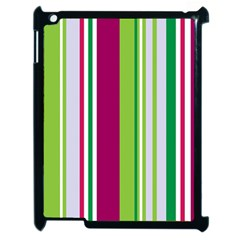 Beautiful Multi Colored Bright Stripes Pattern Wallpaper Background Apple iPad 2 Case (Black)