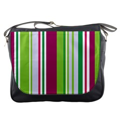 Beautiful Multi Colored Bright Stripes Pattern Wallpaper Background Messenger Bags