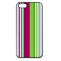 Beautiful Multi Colored Bright Stripes Pattern Wallpaper Background Apple Iphone 5 Seamless Case (black)