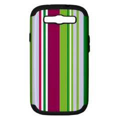 Beautiful Multi Colored Bright Stripes Pattern Wallpaper Background Samsung Galaxy S Iii Hardshell Case (pc+silicone)