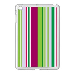 Beautiful Multi Colored Bright Stripes Pattern Wallpaper Background Apple Ipad Mini Case (white)