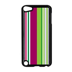 Beautiful Multi Colored Bright Stripes Pattern Wallpaper Background Apple Ipod Touch 5 Case (black)