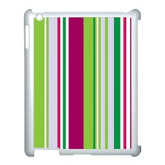 Beautiful Multi Colored Bright Stripes Pattern Wallpaper Background Apple iPad 3/4 Case (White)