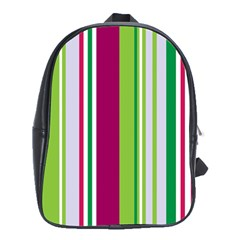 Beautiful Multi Colored Bright Stripes Pattern Wallpaper Background School Bags (XL)
