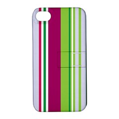 Beautiful Multi Colored Bright Stripes Pattern Wallpaper Background Apple Iphone 4/4s Hardshell Case With Stand