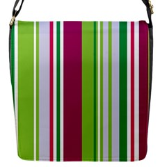 Beautiful Multi Colored Bright Stripes Pattern Wallpaper Background Flap Messenger Bag (S)