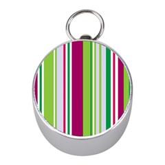 Beautiful Multi Colored Bright Stripes Pattern Wallpaper Background Mini Silver Compasses
