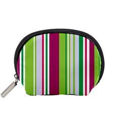 Beautiful Multi Colored Bright Stripes Pattern Wallpaper Background Accessory Pouches (small)