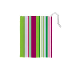 Beautiful Multi Colored Bright Stripes Pattern Wallpaper Background Drawstring Pouches (small)
