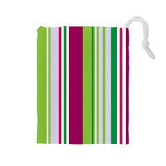 Beautiful Multi Colored Bright Stripes Pattern Wallpaper Background Drawstring Pouches (large)