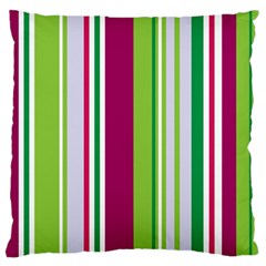 Beautiful Multi Colored Bright Stripes Pattern Wallpaper Background Large Flano Cushion Case (two Sides)