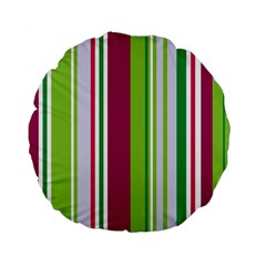 Beautiful Multi Colored Bright Stripes Pattern Wallpaper Background Standard 15  Premium Flano Round Cushions