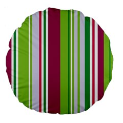 Beautiful Multi Colored Bright Stripes Pattern Wallpaper Background Large 18  Premium Flano Round Cushions