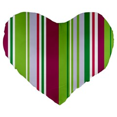 Beautiful Multi Colored Bright Stripes Pattern Wallpaper Background Large 19  Premium Flano Heart Shape Cushions