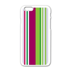 Beautiful Multi Colored Bright Stripes Pattern Wallpaper Background Apple Iphone 6/6s White Enamel Case