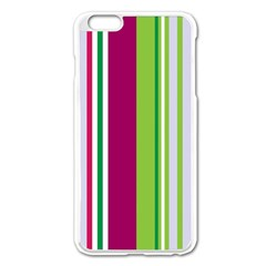 Beautiful Multi Colored Bright Stripes Pattern Wallpaper Background Apple Iphone 6 Plus/6s Plus Enamel White Case