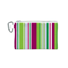 Beautiful Multi Colored Bright Stripes Pattern Wallpaper Background Canvas Cosmetic Bag (S)