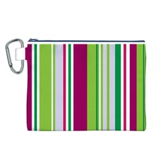 Beautiful Multi Colored Bright Stripes Pattern Wallpaper Background Canvas Cosmetic Bag (l)