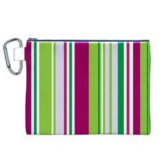 Beautiful Multi Colored Bright Stripes Pattern Wallpaper Background Canvas Cosmetic Bag (xl)