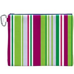 Beautiful Multi Colored Bright Stripes Pattern Wallpaper Background Canvas Cosmetic Bag (xxxl)
