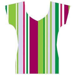 Beautiful Multi Colored Bright Stripes Pattern Wallpaper Background Women s V-Neck Cap Sleeve Top