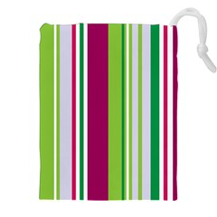 Beautiful Multi Colored Bright Stripes Pattern Wallpaper Background Drawstring Pouches (XXL)