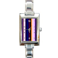 Fun Striped Background Design Pattern Rectangle Italian Charm Watch