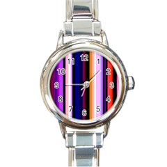 Fun Striped Background Design Pattern Round Italian Charm Watch