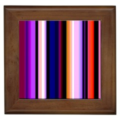 Fun Striped Background Design Pattern Framed Tiles