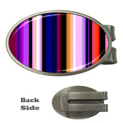 Fun Striped Background Design Pattern Money Clips (Oval)