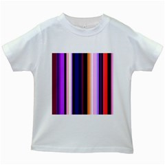 Fun Striped Background Design Pattern Kids White T Shirts