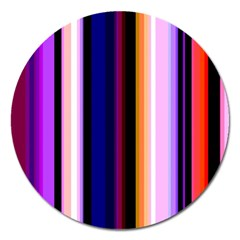 Fun Striped Background Design Pattern Magnet 5  (round)