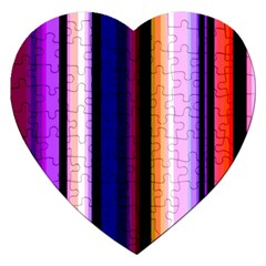 Fun Striped Background Design Pattern Jigsaw Puzzle (heart)