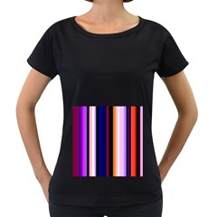Fun Striped Background Design Pattern Women s Loose Fit T Shirt (black)